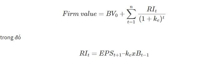 Công thức tính toán giá trị cổ phiếu theo chỉ số lợi nhuận thặng dư (RI)